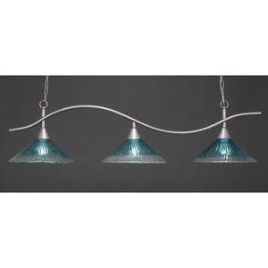 Swoop Brushed Nickel Three-Light Island Pendant with 16-Inch Teal Crystal Glass Shades