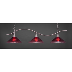 Swoop Brushed Nickel Three-Light Island Pendant with 16-Inch Raspberry Crystal Glass Shades