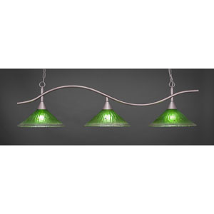 Swoop Brushed Nickel Three-Light Island Pendant with 16-Inch Kiwi Green Crystal Glass Shades