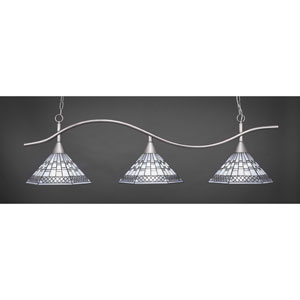 Swoop Brushed Nickel Three-Light Island Pendant with 16-Inch Pewter Tiffany Glass