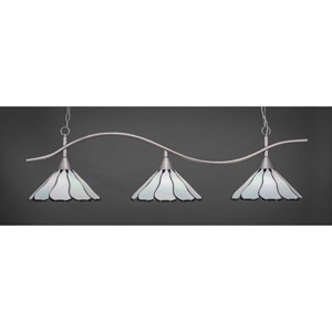 Swoop Brushed Nickel Three-Light Island Pendant with 16-Inch Pearl Flair Tiffany Glass