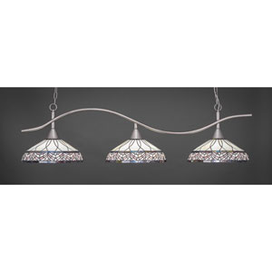 Swoop Brushed Nickel Three-Light Island Pendant with 16-Inch Royal Merlot Tiffany Glass