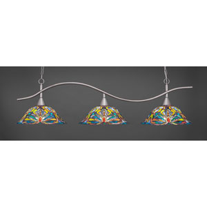Swoop Brushed Nickel Three-Light Island Pendant with 18.25-Inch Kaleidoscope Tiffany Glass