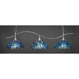 Swoop Brushed Nickel Three-Light Island Pendant with 16-Inch Blue Mosaic Tiffany Glass