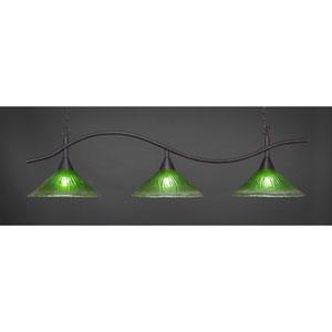 Swoop Dark Granite Billiard Light with Kiwi Green Crystal Glass