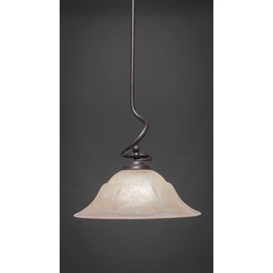 Capri Dark Granite One-Light Stem Pendant w/ 16-Inch Amber Marble Glass