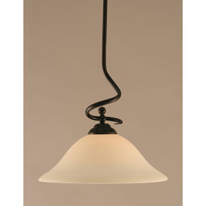 Capri Dark Granite One-Light Stem Pendant w/ 16-Inch White Linen Glass