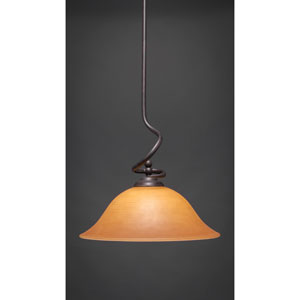 Capri Dark Granite One-Light Stem Pendant w/ 16-Inch Cayenne Linen Glass