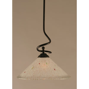 Capri Dark Granite One-Light Stem Pendant w/ 16-Inch Frosted Crystal Glass