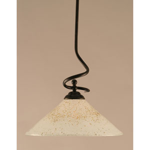 Capri Dark Granite One-Light Stem Pendant w/ 16-Inch Gold Ice Glass