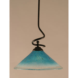 Capri Dark Granite One-Light Stem Pendant w/ 16-Inch Teal Crystal Glass