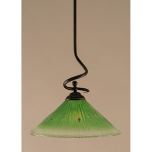 Capri Dark Granite One-Light Stem Pendant w/ 16-Inch Kiwi Green Crystal Glass