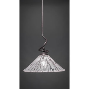 Capri Dark Granite One-Light Stem Pendant w/ 16-Inch Italian Ice Glass