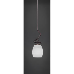 Capri Dark Granite One-Light Stem Mini Pendant w/ 5-Inch White Linen Glass