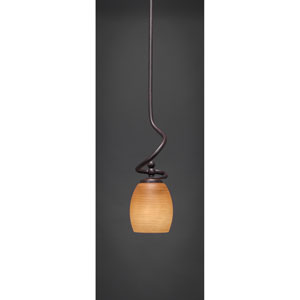 Capri Dark Granite One-Light Stem Mini Pendant w/ 5-Inch Cayenne Linen Glass