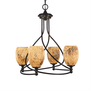 Capri Dark Granite Four-Light 19-Inch Chandelier with 5-Inch Gold Fusion Glass