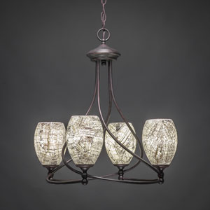 Capri Dark Granite Four-Light Chandelier with Natural Fusion Glass