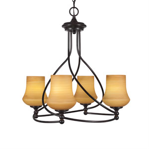 Capri Dark Granite Four-Light 21-Inch Chandelier with 5.5-Inch Zilo Cayenne Linen Glass