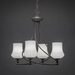 Capri Dark Granite Four-Light Chandelier with White Linen Glass