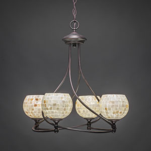 Capri Dark Granite Four-Light Chandelier w/ 6-Inch Seashell Glass