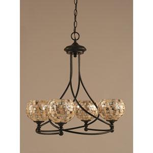 Capri Dark Granite Four-Light Chandelier w/ 6-Inch Seashell Glass