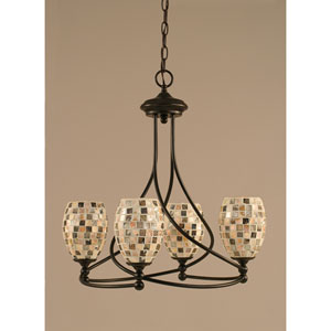 Capri Dark Granite Four-Light Chandelier w/ 5-Inch Seashell Glass