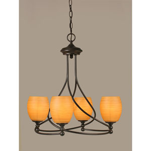 Capri Dark Granite Four-Light Chandelier w/ 5-Inch Cayenne Linen Glass