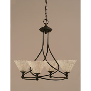 Capri Dark Granite Four-Light Chandelier w/ 7-Inch Italian Ice Glass