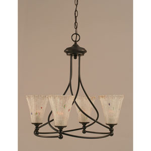 Capri Dark Granite Four-Light Chandelier w/ 5.5-Inch Frosted Crystal Glass