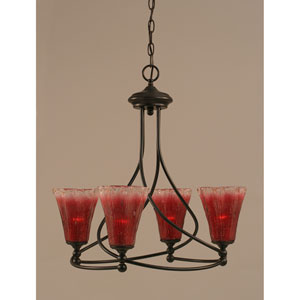 Capri Dark Granite Four-Light Chandelier w/ 5.5-Inch Raspberry Crystal Glass