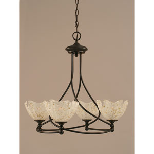 Capri Dark Granite Four-Light Chandelier w/ 7-Inch Gold Ice Glass