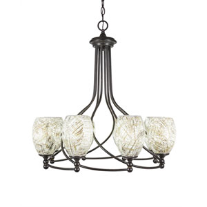 Capri Dark Granite Eight-Light 26-Inch Chandelier with 5-Inch Natural Fusion Glass