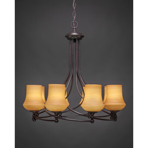 Capri Dark Granite Eight-Light Chandelier with Cayenne Linen Glass