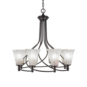 Capri Dark Granite Eight-Light 28.5-Inch Chandelier with 5.5-Inch Fluted Teal Crystal Glass
