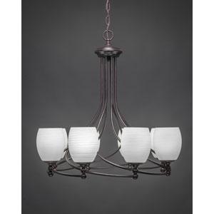 Capri Dark Granite Eight-Light Chandelier w/ 5-Inch White Linen Glass