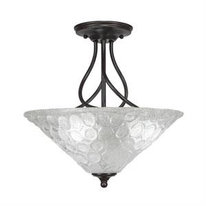 Capri Dark Granite Three-Light Semi-Flush with 16-Inch Italian Bubble Glass