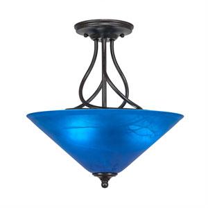 Capri Dark Granite Three-Light Semi-Flush with 16-Inch Blue Italian Glass