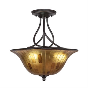 Capri Dark Granite Three-Light Semi-Flush with 16-Inch Penshell Resin Shade