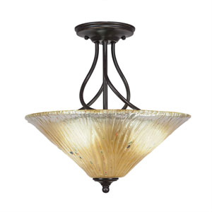 Capri Dark Granite Three-Light Semi-Flush with 16-Inch Amber Crystal Glass