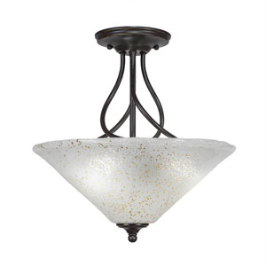 Capri Dark Granite Three-Light Semi-Flush with 16-Inch Gold Ice Glass