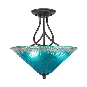 Capri Dark Granite Three-Light Semi-Flush with 16-Inch Teal Crystal Glass