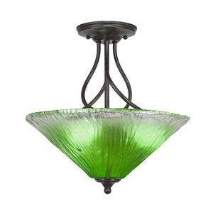 Capri Dark Granite Three-Light Semi-Flush with 16-Inch Kiwi Green Crystal Glass