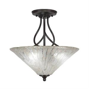 Capri Dark Granite Three-Light Semi-Flush with 16-Inch Italian Ice Glass