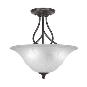 Capri Dark Granite Three-Light Semi-Flush with 16-Inch White Marble Glass