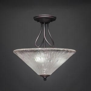 Capri Dark Granite Three-Light Semi-Flush w/ 16-Inch Frosted Crystal Glass