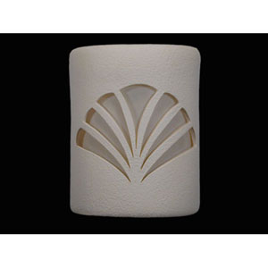 Unfinished Bisque 9-Inch Wall Sconce with Deco Fan Cutout Design