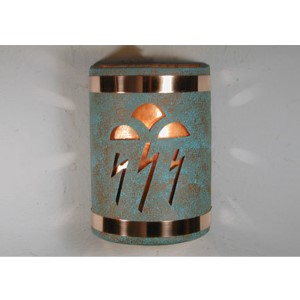 Raw Turquoise One-Light 9.25-Inch Outdoor Wall Sconce with Storm Cloud Center Cut Design