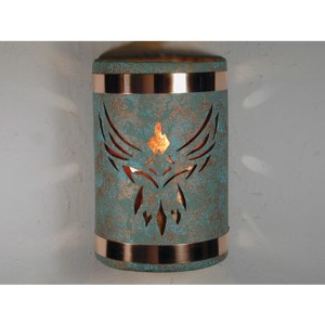 Raw Turquoise One-Light 9-Inch Outdoor Wall Sconce with Phoenix Center Cut Design