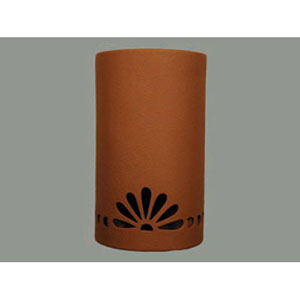 Terracotta 14-Inch Wall Sconce with Fan and Bullets Border Cutout Design