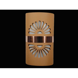 Brown 14-Inch Wall Sconce with Double Fan Cutout Design and Copper Band